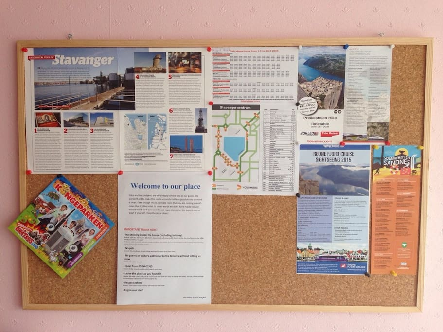 Board with all sorts of information about bus, where to see, etc