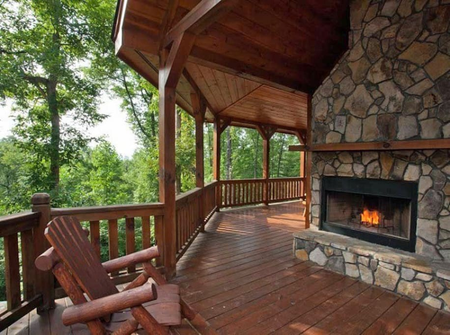 Outdoor fireplace over looking the mountains