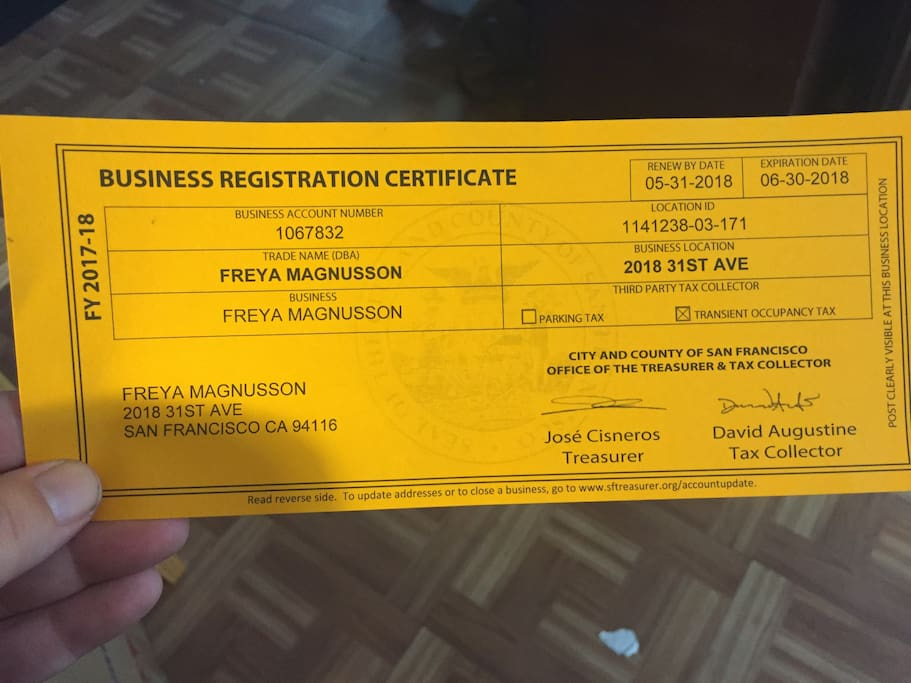 My Business Registration Certificate - I'm a legal and compliant Airbnb