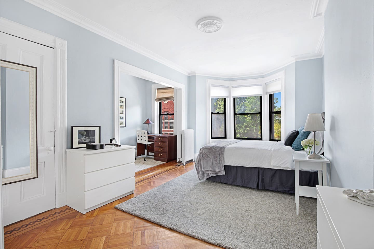 Spacious master bedroom with office nook