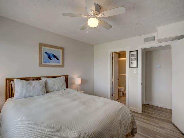 The master bedroom connects with bathroom