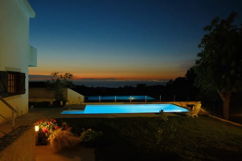 Countryside home with sea view, garden & pool