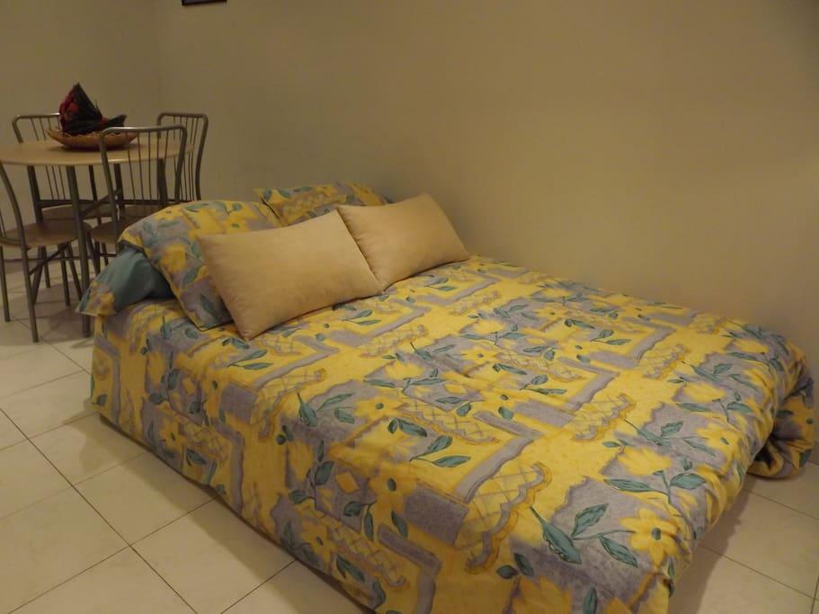 le canapé-lit en version couchage si arrivée tardive, sera déjà installé (passé 21h)