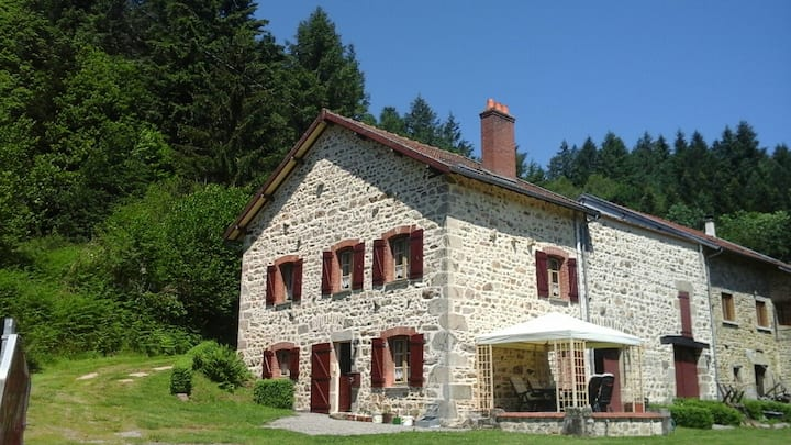 Traditional stone farmhouse with amazing views .