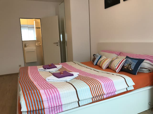 Modern room with private bathroom in Centre - Lüksemburg - Daire
