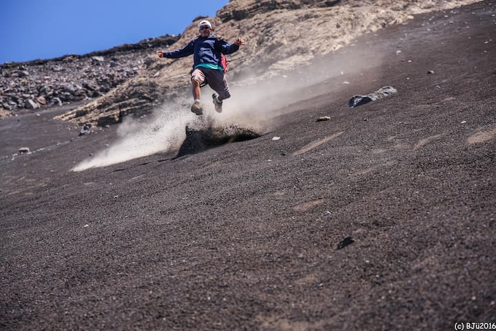 "Favorite activity Nr.1+ ""hiking"" down the volcano ;)"