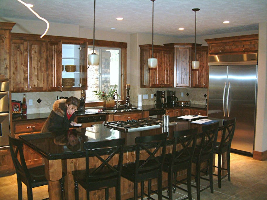 Large Open Kitchen With More Seating and duel dishwashers
