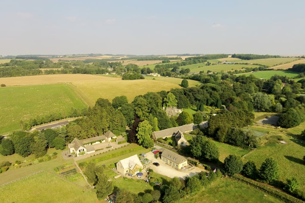 Aerial view of West Barn