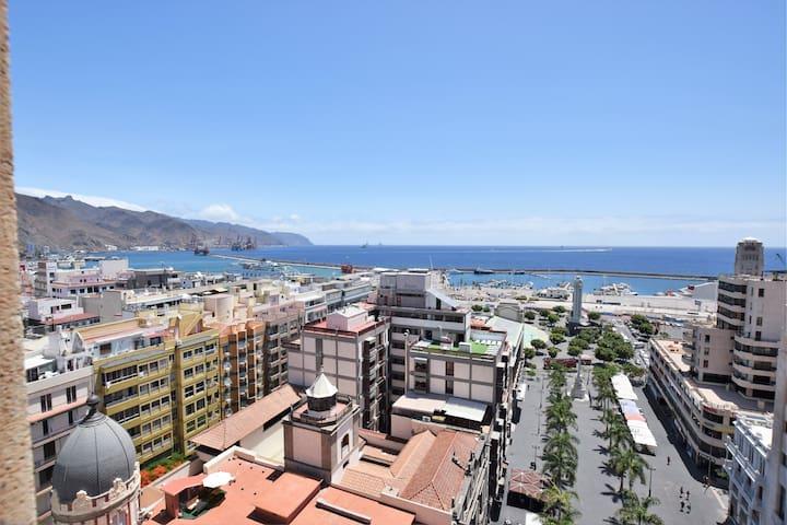 Increibles vistas al mar en el centro de la ciudad - Santa Cruz, Teneriffa - Huoneisto