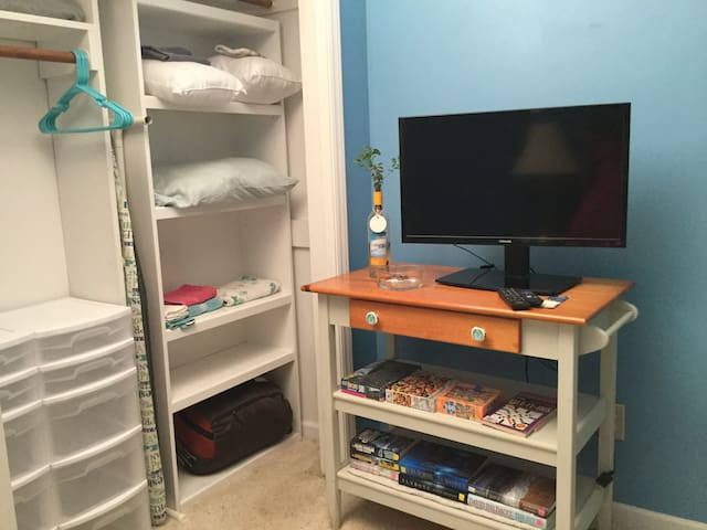 Closet space T.V. and storage