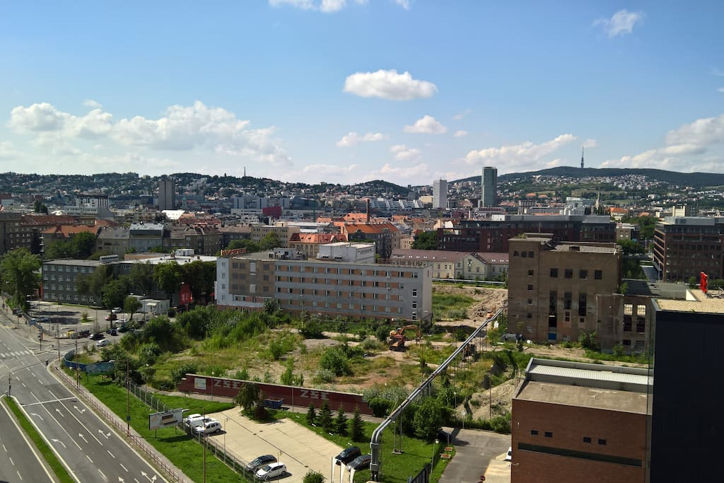 View from balcony (on town centre)