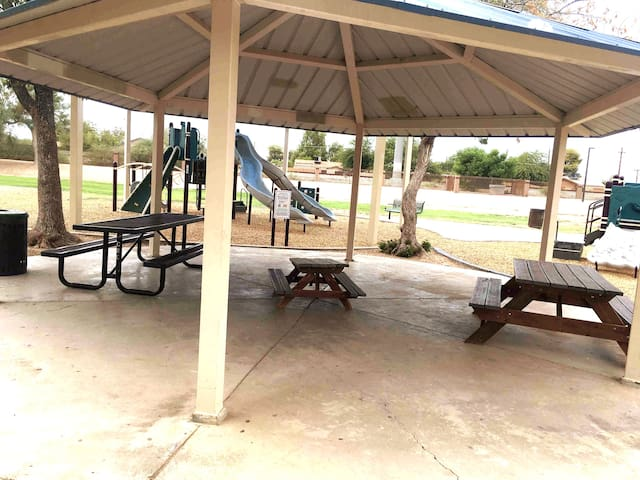 Picnic area and playground at Gazelle Meadows Park