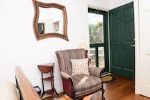 Whimsical mirror in the  bedroom