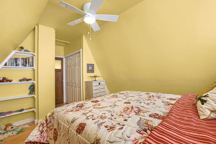 Across from wonderland, is The Owl's nest, comfy quality Queen bed sitting hi up in sky
