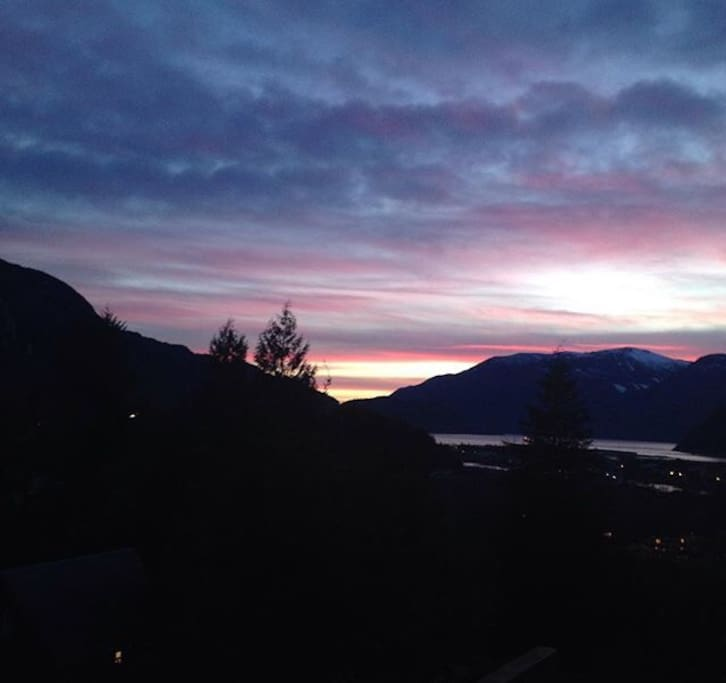 Sunset view from our house off the deck!