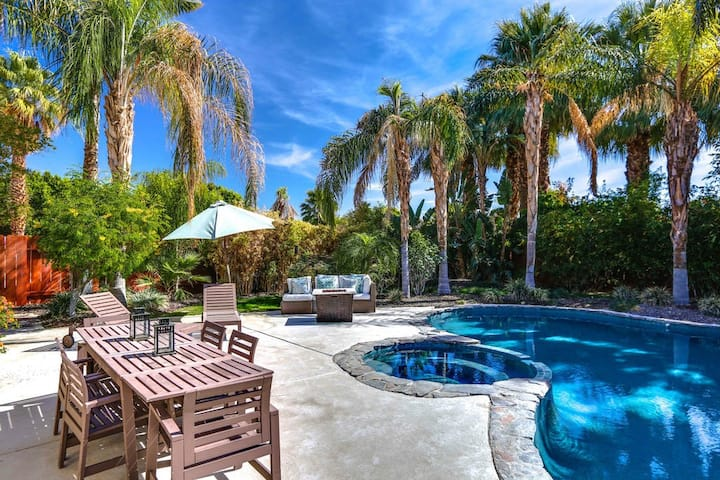 Dog-friendly home w/ a private pool, pool spa, firepit, & patio