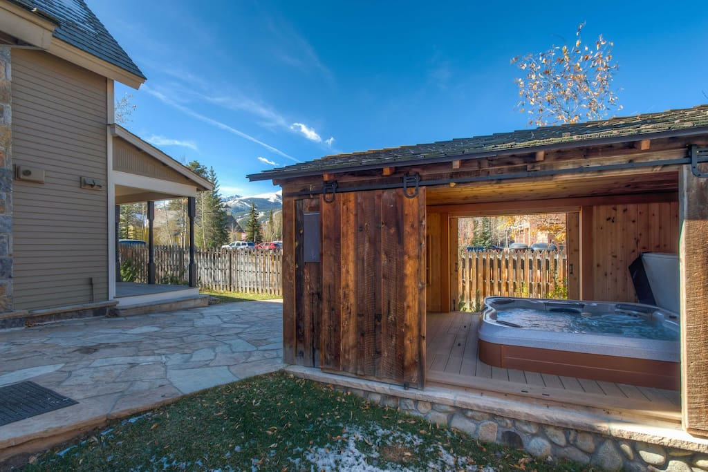 Take a soothing soak in the outdoor, covered hot tub.