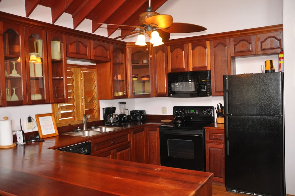 Mahogany Kitchen Cabinets in fully equipped kitchen