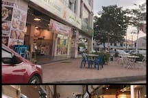 cafe, restaurants, hair saloons and many other stores in the same building