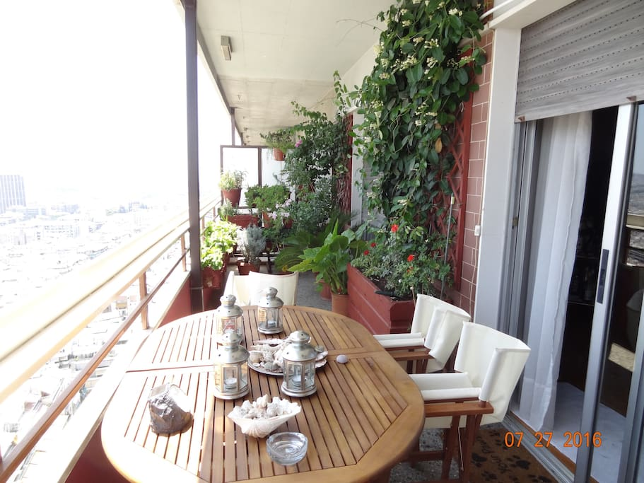 Have your breakfast comfortably in the balcony that has the best view in Athens.