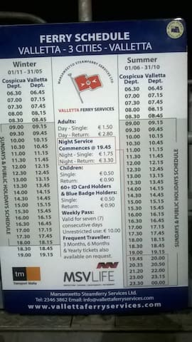 Cospicua - Valletta Ferry Boat Timetable - 5 mins walk away