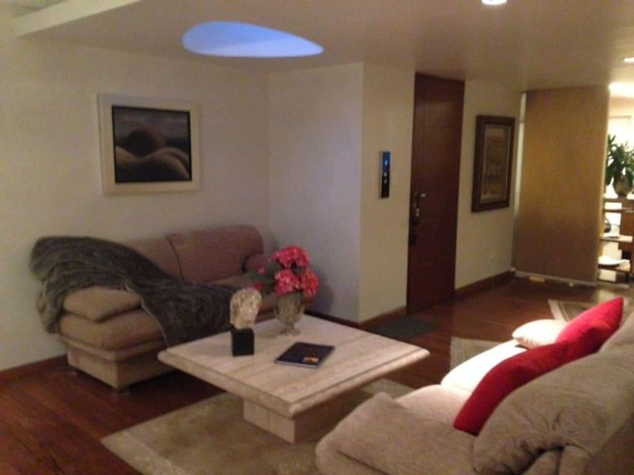 Living Room and elevator door