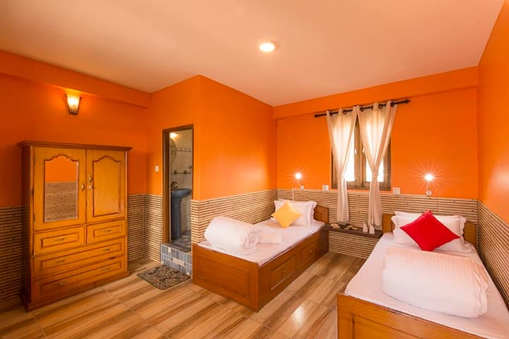 Twin Bed Private Room in Pokhara