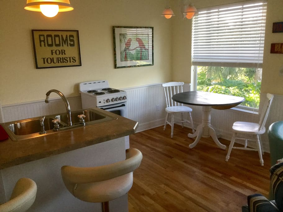 The fully stocked cottage has a complete kitchen including refrigerator, stove, blender, toaster, and coffee pot as well as utensils for your convenience.