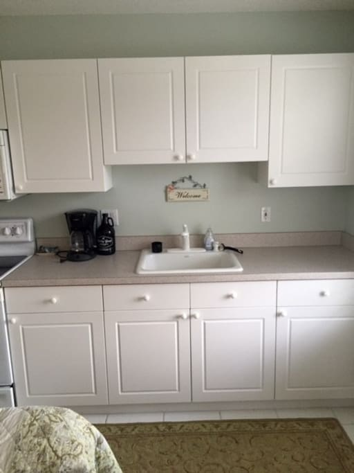 Kitchen cabinets and sink.