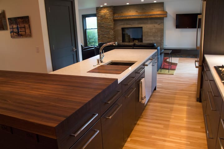 Open concept kitchen, dining and family room