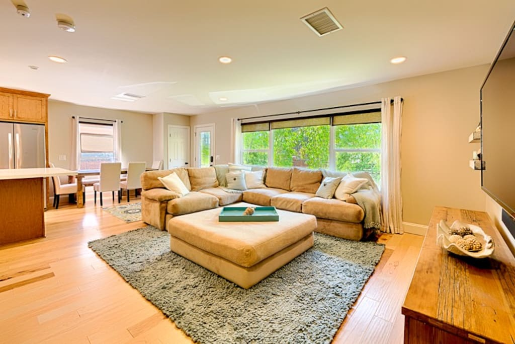 Large living room to relax and enjoy a show.