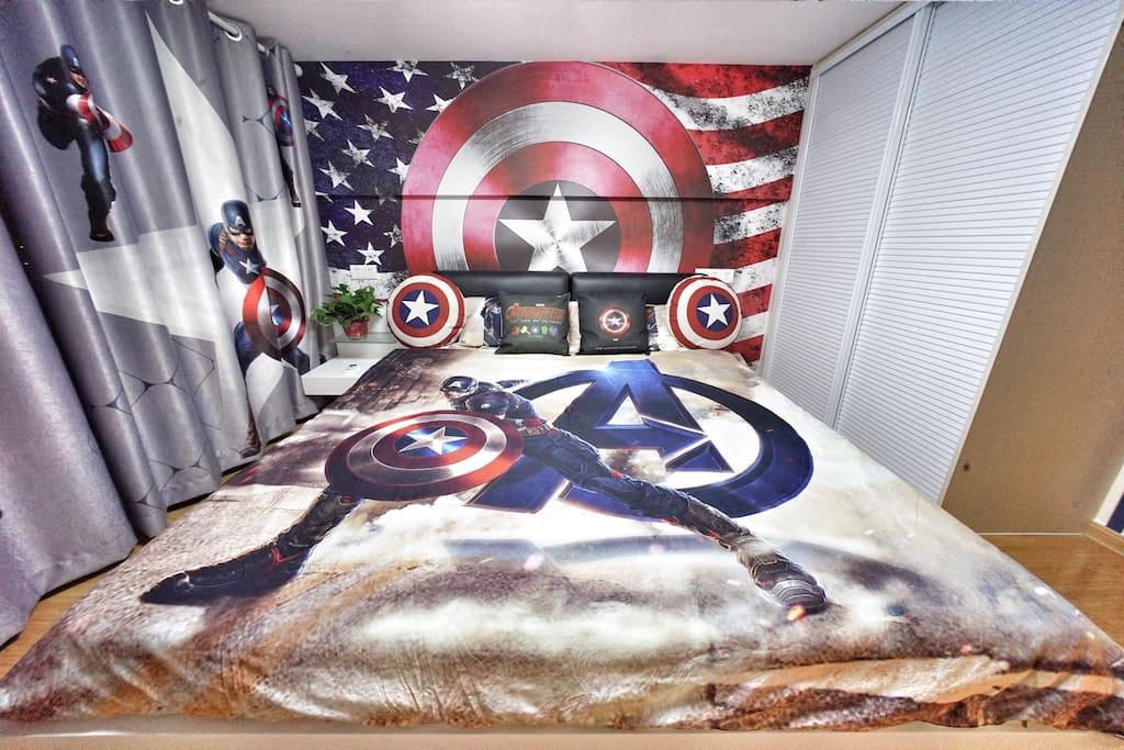 主卧2米超大床美国队长六件套