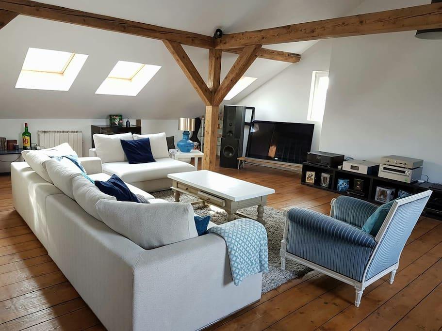 À canapé confortable et une télé haute définition
