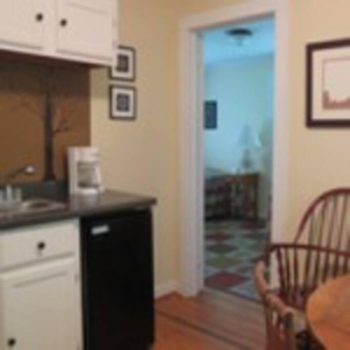 Kitchenette and upper bedroom