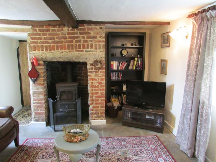 Lounge with wood burning stove