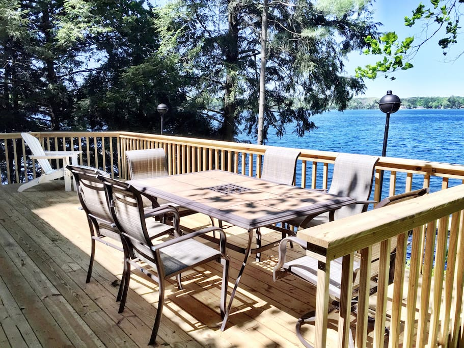 Seating outside on deck overlooking Long Lake.