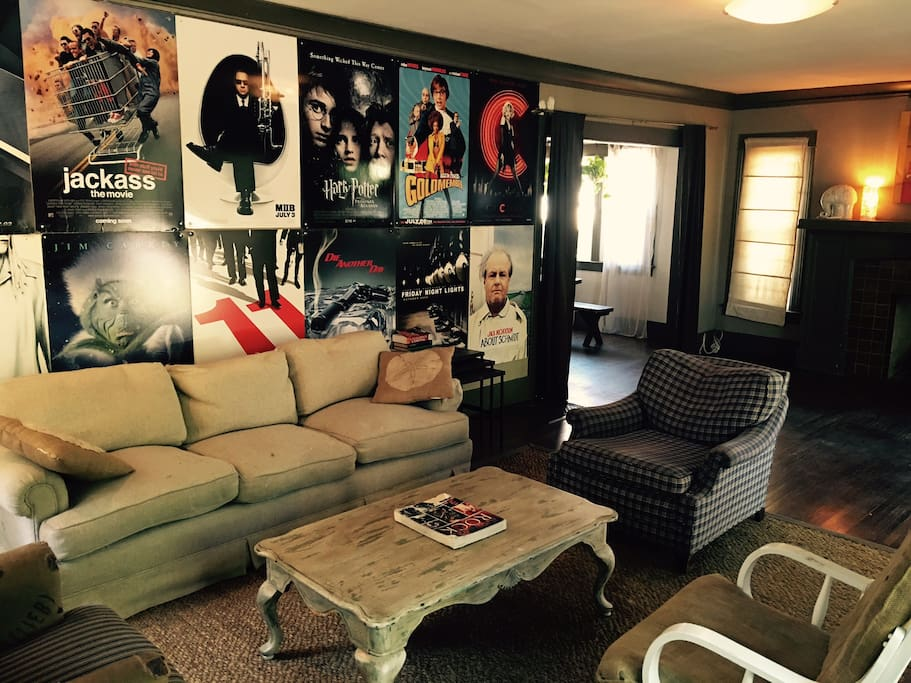 This is the living room, with classic movie poster decor.