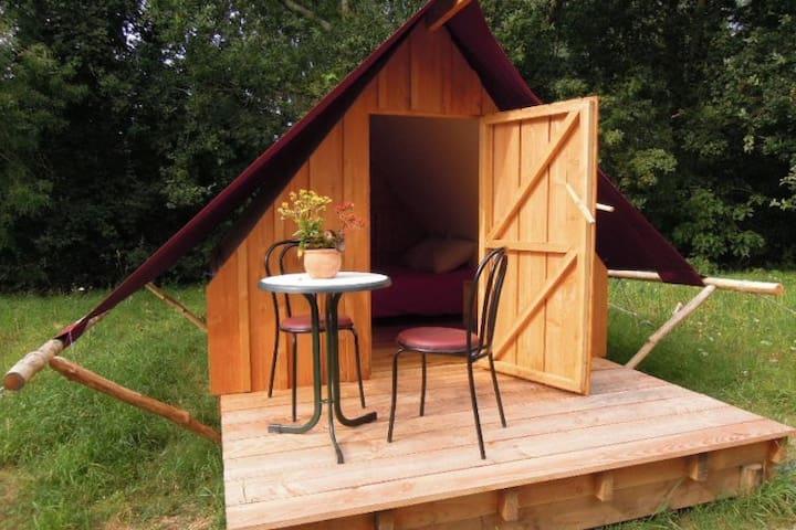 Ecolodge bois/toile terrasse - Bouzillé - Houten huisje