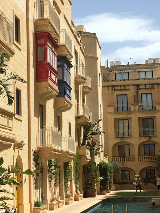 Traditional balconies in complex
