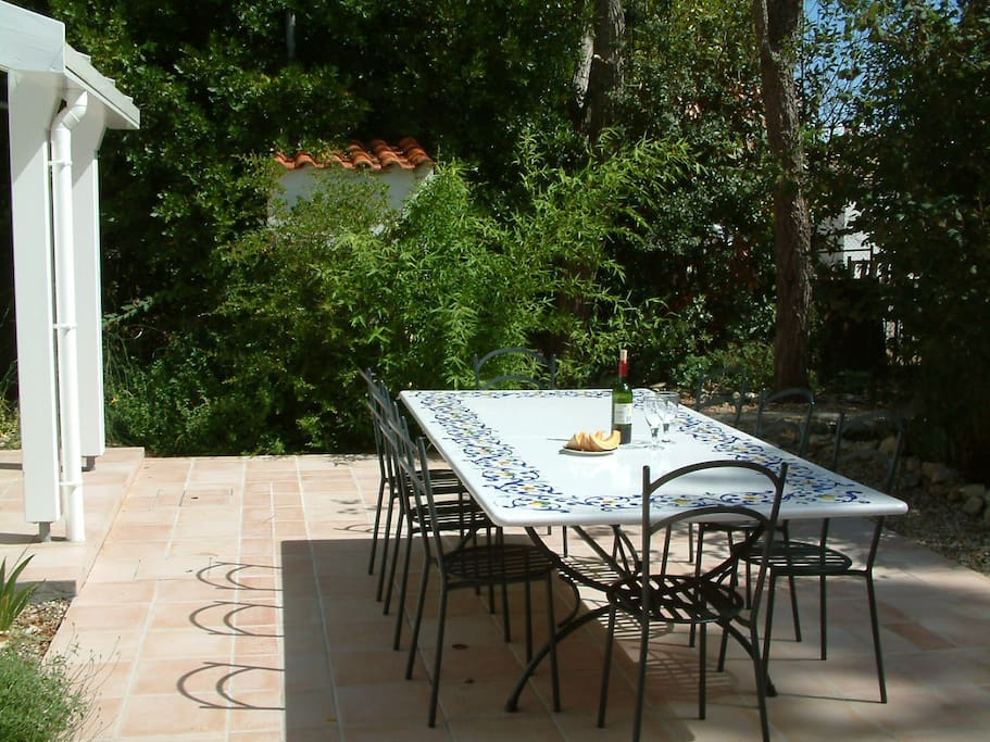 Outside rear terrace and dining area