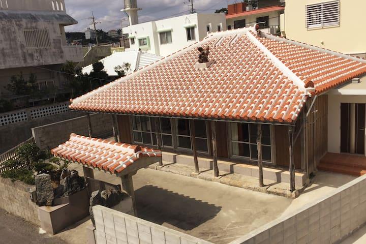 Okinawan Tradional Red Roof House