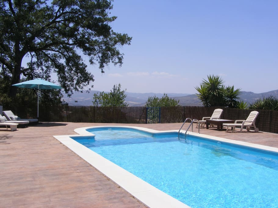 Swimming pool with fenced terrace and great views