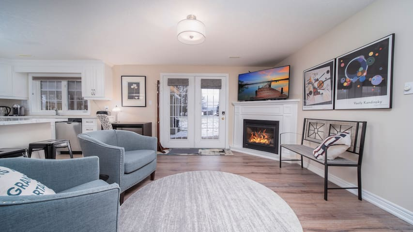 I love this corner of the room with the fireplace, Frame TV with a rotating art display - and an excellent view of the garden.