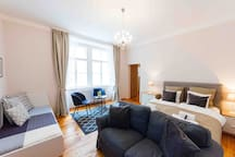 Main living space with a queen size (160x200cm) bed, a single bed (90x200cm), sofa, tv and bookshelf with Vienna guides and leaflet