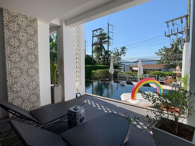 芭东海滩复古风直通泳池房,带按摩浴缸,阳台