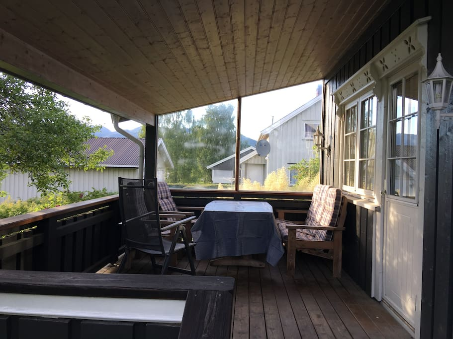 Porch with roof for late evenings.
