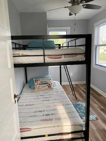 Bunk beds in guest room. No one over 150lbs in the top bunk, please!
