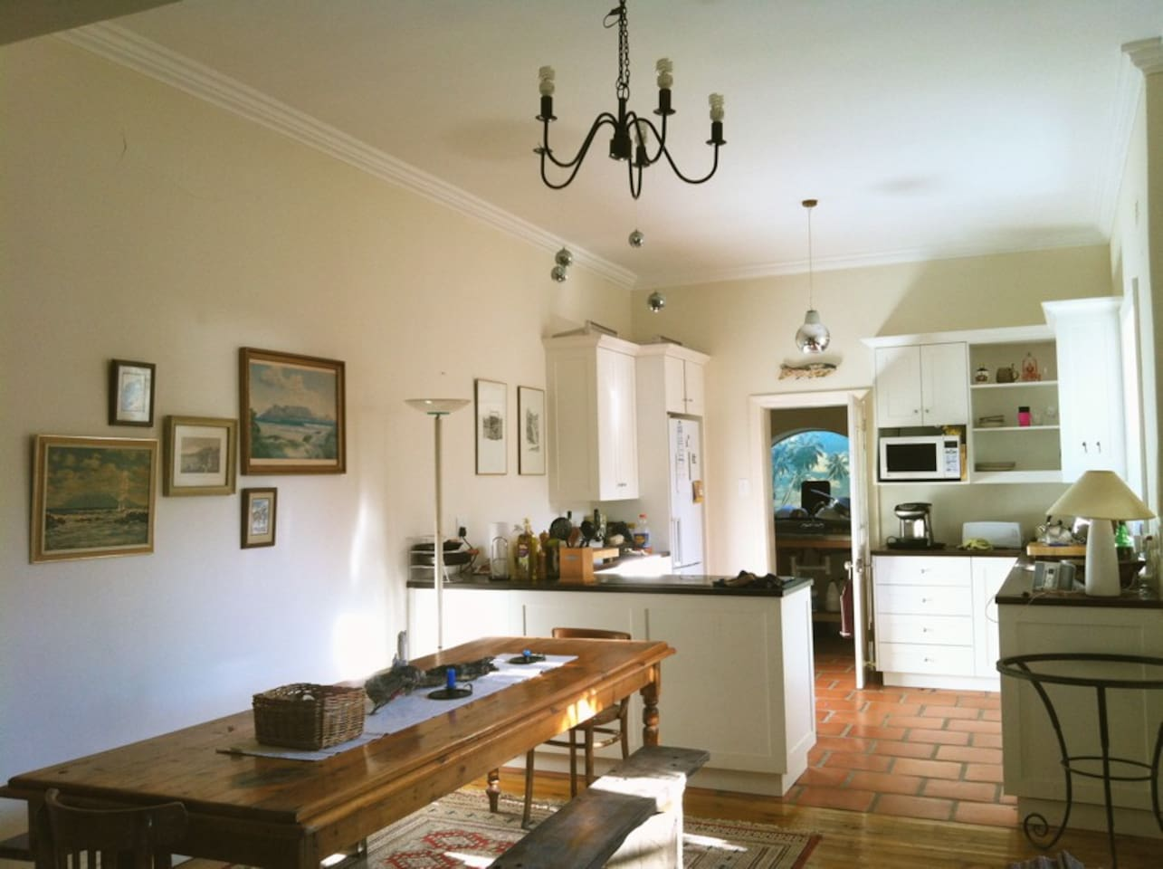 Fully fitted kitchen with all the necessities, including clothes washing machine and tumbledryer.