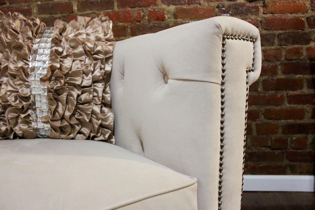 Details of designer armchair.