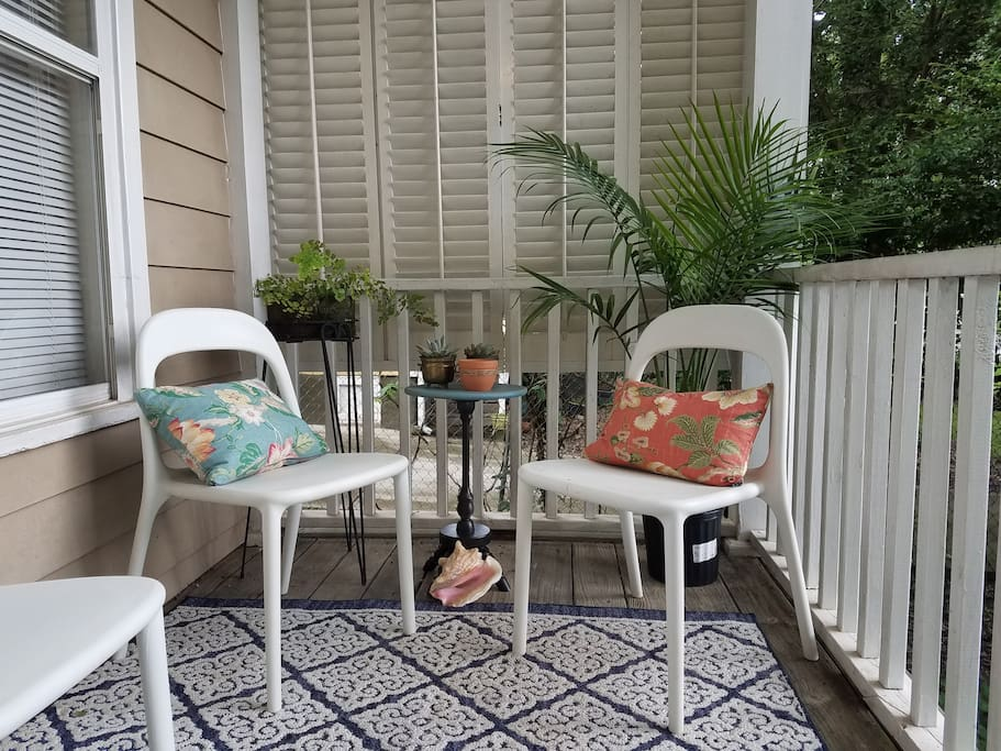 The front porch is perfect for enjoying our warm summer evenings or sipping your morning coffee.